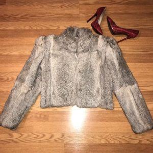 Berman's rabbit fur cropped grey jacket coat M